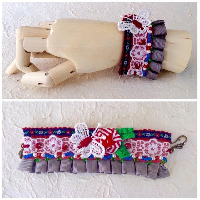 cuffs bracelet  #4(red&white)