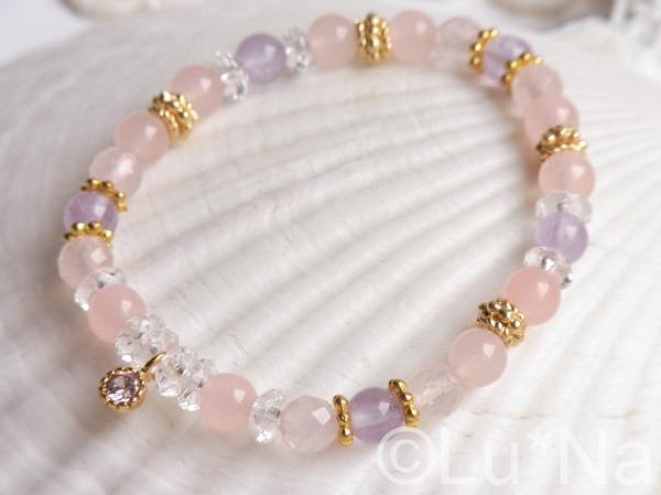 天然石ブレスレット【ピンク・パープル】