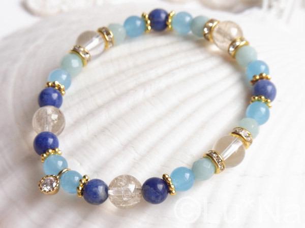 天然石ブレスレット【ブルー】
