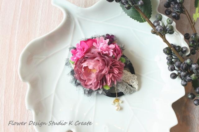 モーブピンクの薔薇のヘアゴム(Mサイズ)