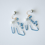 Arty Wire Pierced Earrings - hate heel DARK BLUE
