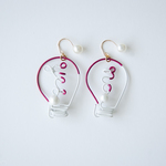 Arty Wire Pierced Earrings - yes no bulbs GRAPE RED