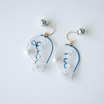 Arty Wire Pierced Earrings - yes no bulbs DARK BLUE