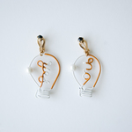 Arty Wire Pierced Earrings - yes no bulbs DARK YELLOW