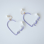 Arty Wire Pierced Earrings - oui non heart VIOLET