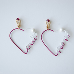 Arty Wire Pierced Earrings - oui non heart GRAPE RED