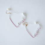 Arty Wire Pierced Earrings - oui non heart MAUVE ROSE
