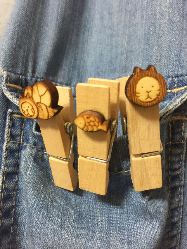 木製ピンチ      ねこばち・さかな・ねこ