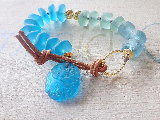 Seaglass Bracelet lll --sand dollar