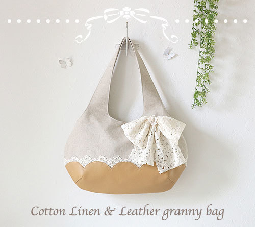 Cotton Linen & Leather granny bag