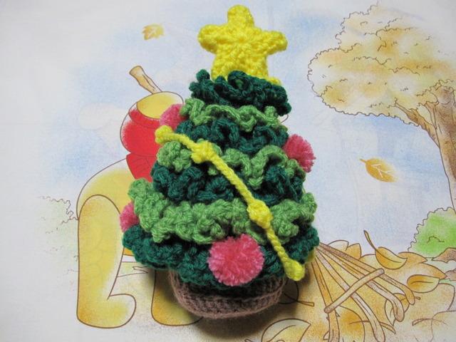 ★クリスマスツリー★インテイアに★毛糸で編んだツリー★