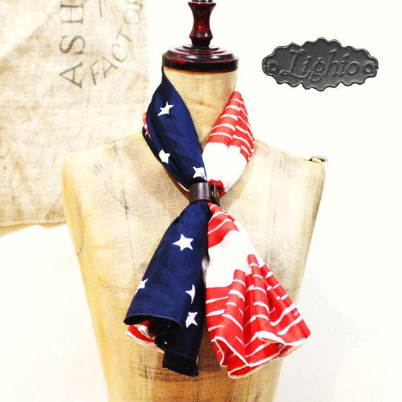 アメリカ国旗のシルクスカーフ シルク100% 大判タイプ シルクスクリーンプリント使用