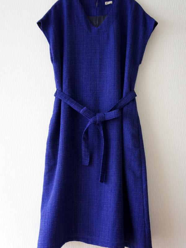青紫サマーツウィードVフレンチワンピース