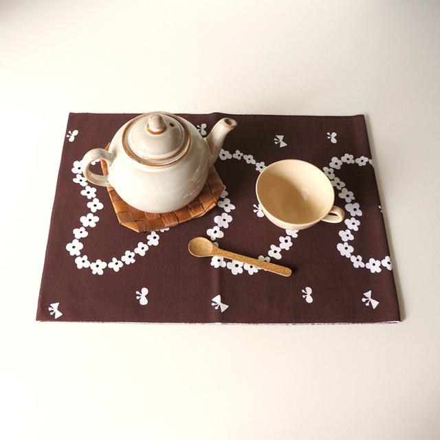 humming hreart てぬぐい (茶)