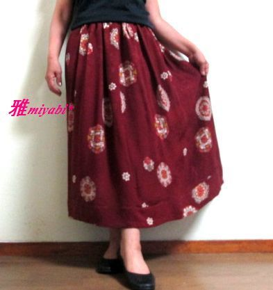 裏付秋色絹アンティーク着物スカート