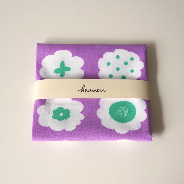 フラワークッキーてぬぐい(紫×ミントグリーン)