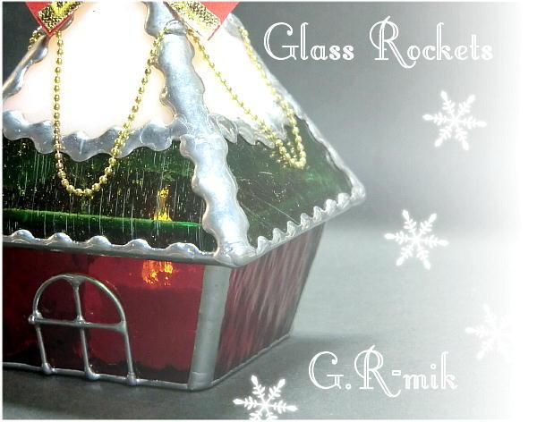★クリスマス ハウス LED キャンドル ステンドグラス ランプ