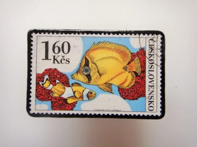 チェコ 魚切手ブローチ 2800