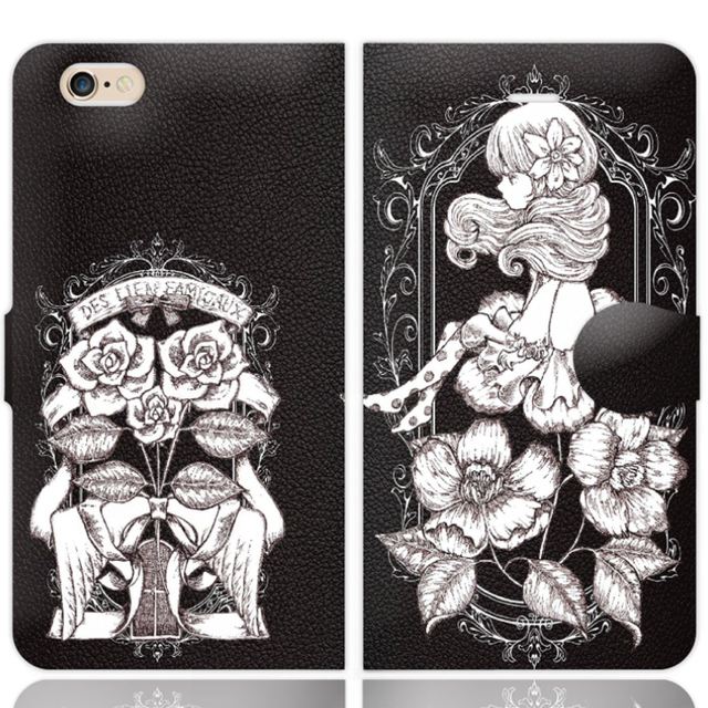iPhone5〜7対応手帳ケース【椿】