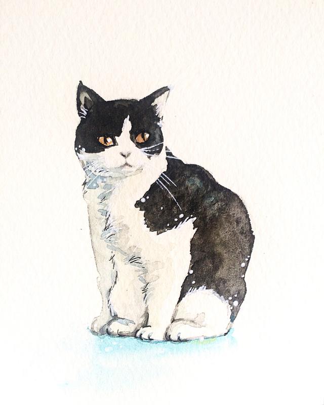 原画 白黒猫の水彩画 ハンドメイドマーケット Minne