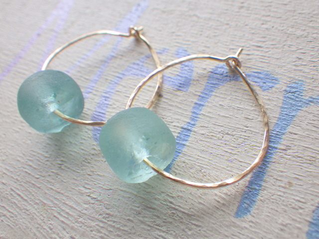 Ocean Hammered Hoop  14kgf*Sea glass ...