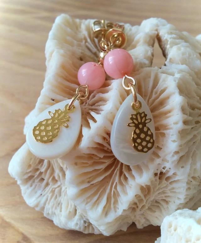 Pineapple drop ピアス (pink coral)