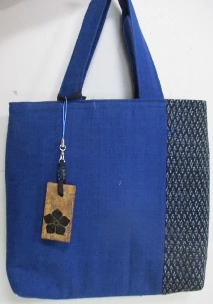 送料無料 藍と男絣で作った手提げ袋 ...