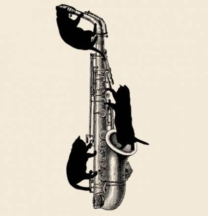 アルトサックスと黒猫のトートバッグ楽器ねこシリーズ