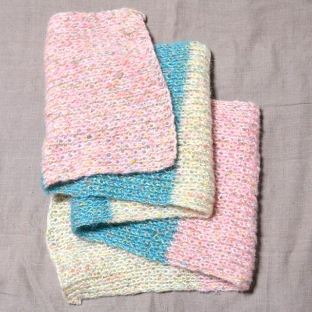 ファンシー毛糸の3色マフラー