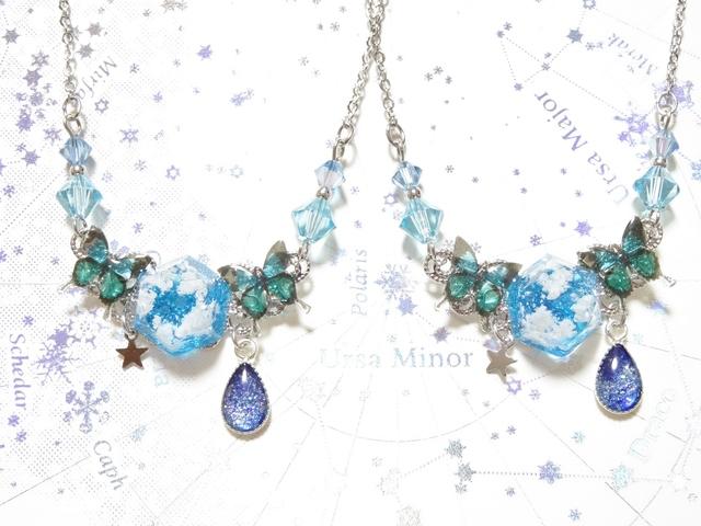 ☆蒼空と蝶のネックレス(ブルー)☆
