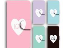 ハート LOVE ロゴ スマホケース パステルカラー 手帳 全機種対応