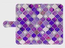 グラスタイル アラベスクパターン(ナイトパープル) Galaxy、Xperia Lサイズ専用 手帳型スマホケース