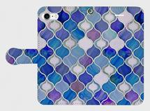 グラスタイル アラベスクパターン(オーシャンブルー) iphone 5/5s 6/6s SE/7 専用手帳型