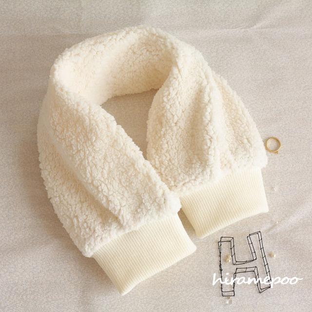 【お袖みたいなマフラー】 manche・・・ホワイト