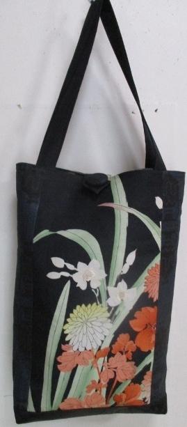 送料無料 花柄の帯と大島紬で作った手...