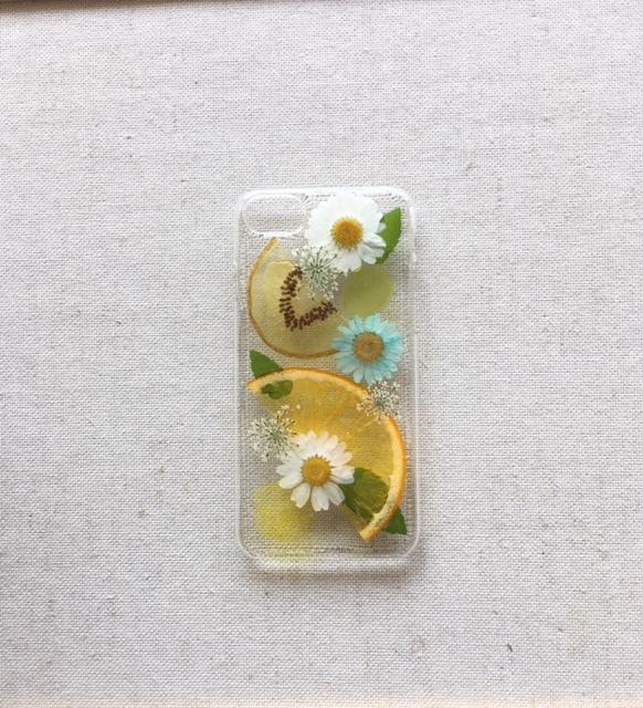 iPhone7/6/6s用  押し花とフルーツのス...