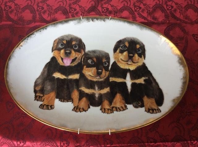ロットワイヤーの子犬の絵皿