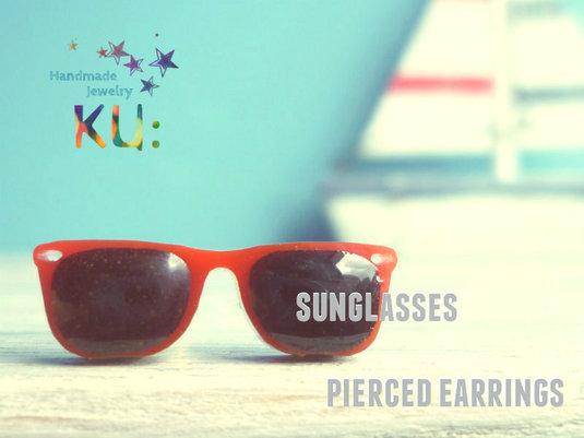 Sunglasses Earrings/グラサンメガネピアス赤