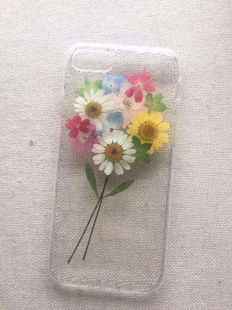 <再販2>iphone7/6/6s用  押し花の花束...