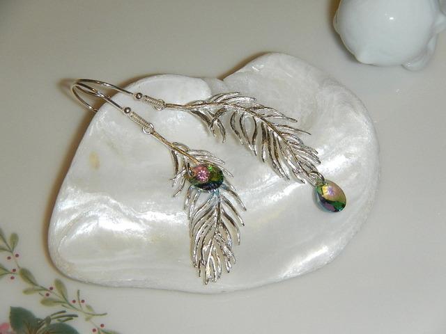 オーロラしずくと天使の羽 のピアス silver925フック