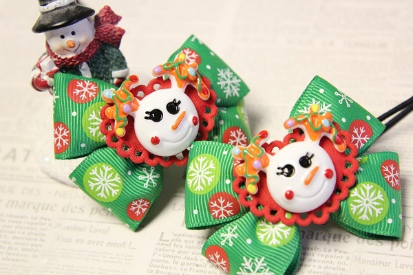 クリスマスのリボンヘアゴム☆L