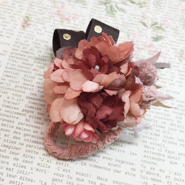 【秋色】染花のヘアクリップ