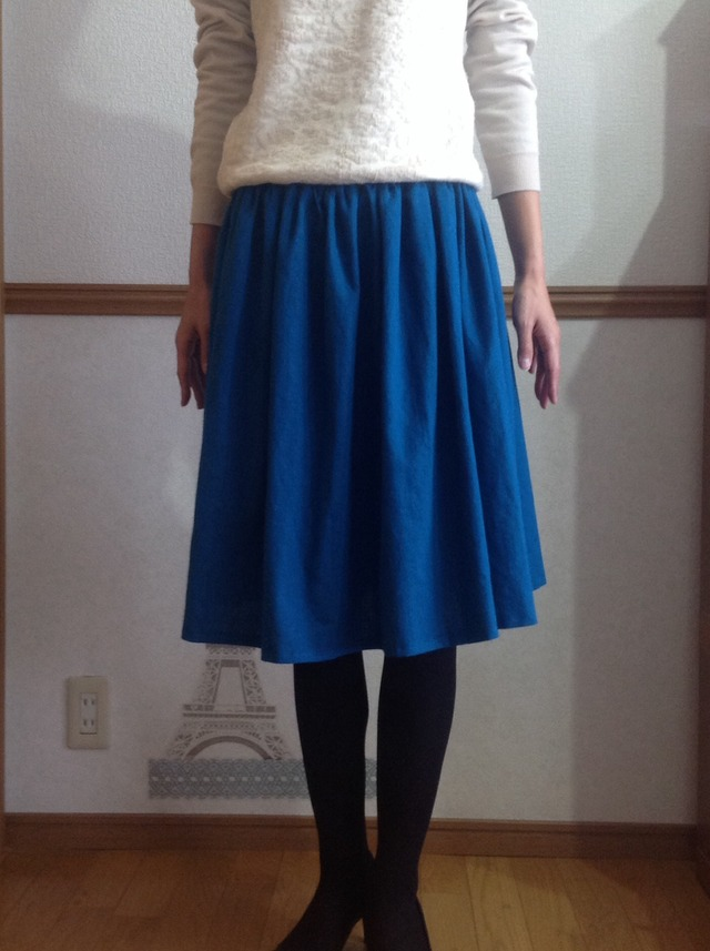 ハーフリネンのふんわりギャザースカート ピーコックブルー