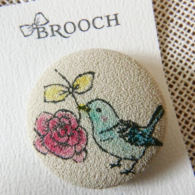 BROOCH 青いコトリとバラ BEIGE