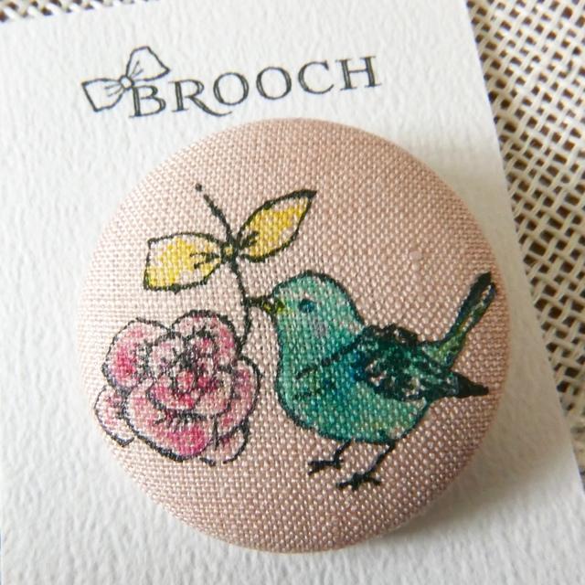 BROOCH 青いコトリとバラ PINK