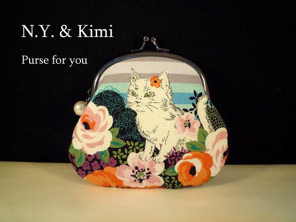 *猫と花ボーダー がま口 ポーチ 財布*