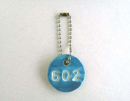 陶器のナンバーチャーム[602・青]〈送料無料〉