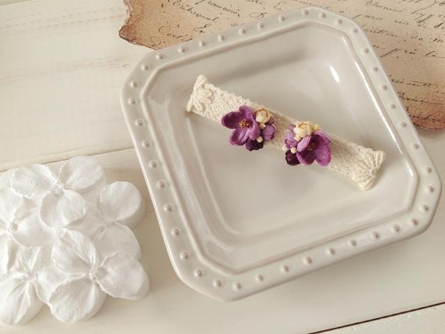染め花の小花と蕾のピアスA(ピンクパープル)