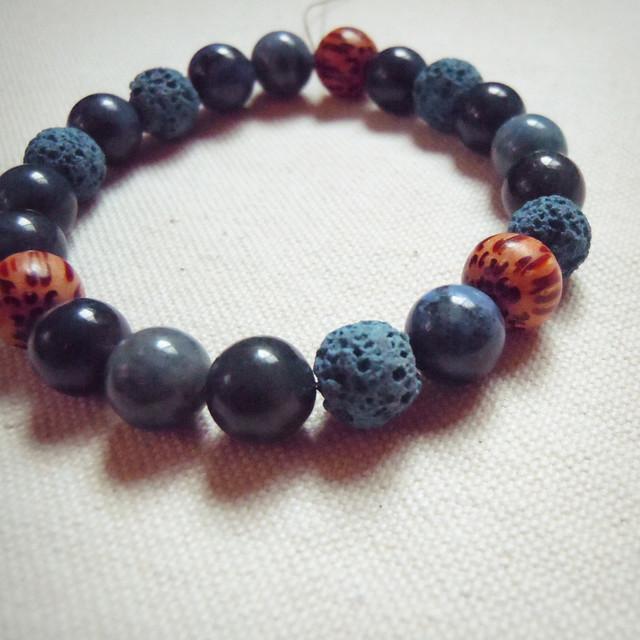 天然石ゴムブレスレット/ディープブルーb