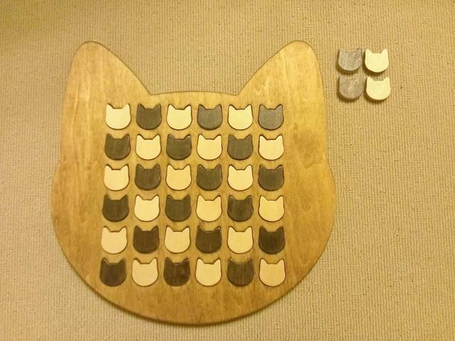 ラッピング付☆受注製作☆木製ネコ型リバーシ☆ミディアムウォルナット